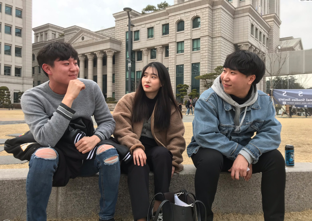 From left to right, Woo hyeok Lee, Gyuri Park and Hyun Woo Hong are Seoul college students who say they don't care if their entertainers are gay.