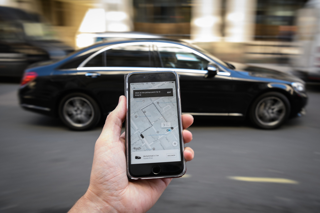 In this Photo Illustration, a phone displays the Uber ride-hailing app on September 22, 2017 in London, England.