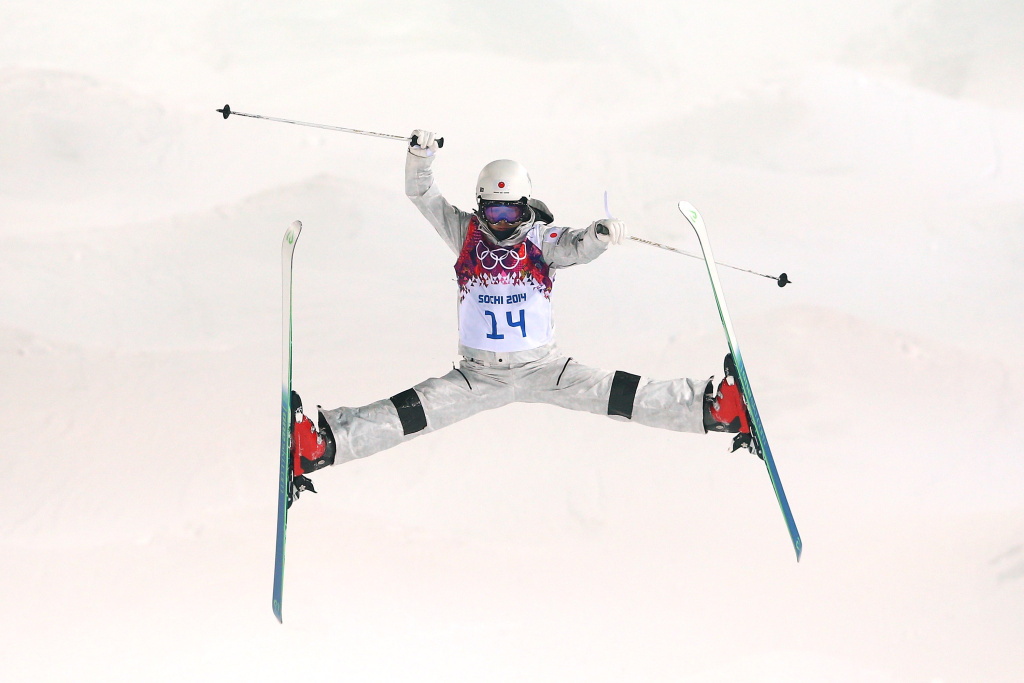Junko Hoshino of Japan trains during moguls practice at the Extreme Park at Rosa Khutor Mountain ahead of the Sochi 2014 Winter Olympics on February 5, 2014 in Sochi, Russia.