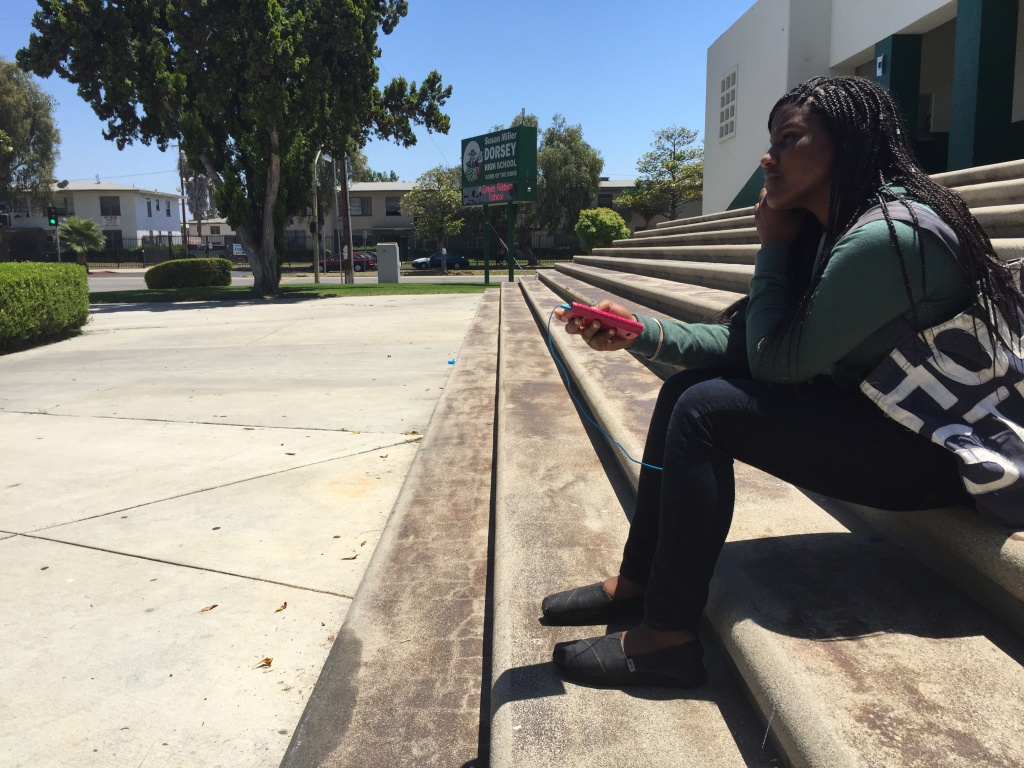 ... the first day of summer school at Dorsey High. Annie Gilbertson/KPCC