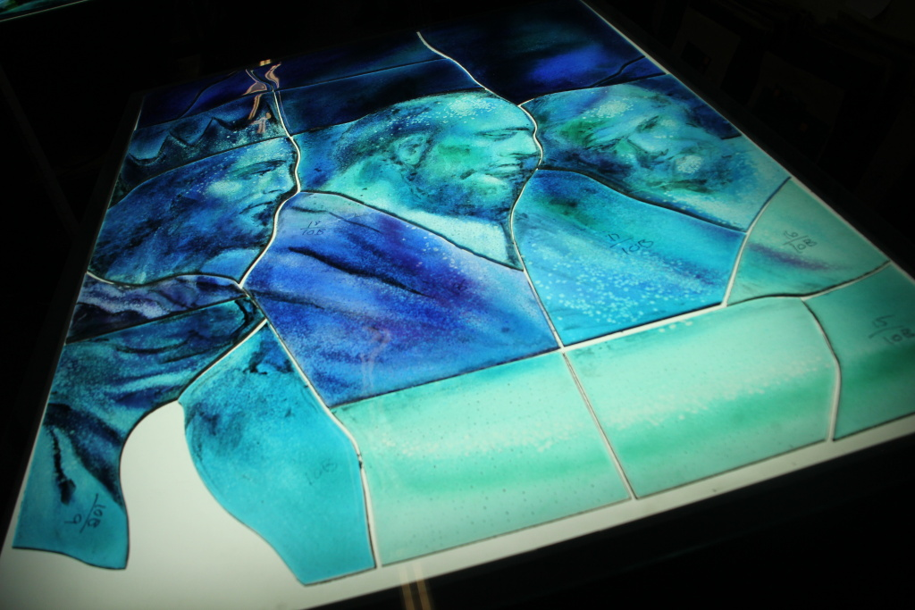 Detail of a glass fusing project at the Judson Studios in Highland Park.