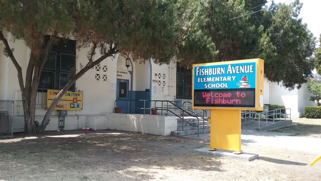Fishburn Avenue Elementary School school in Maywood is one of several LAUSD schools that tested high for lead.