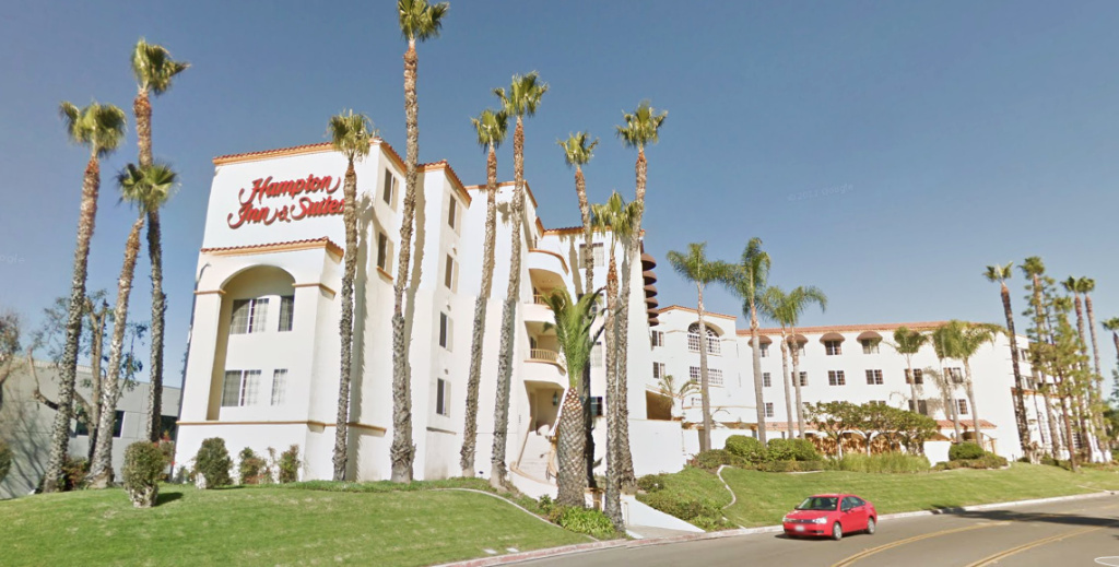 Two children were found dead in a room at this Hampton Inn & Suites in Santa Ana on Sept. 14, 2013.