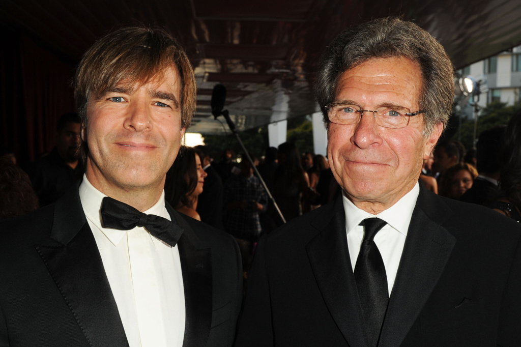 Producers Christian McLaughlin (left) and Paul Junger Witt (right) arrive at the NCLR ALMA Awards held at Santa Monica Civic Auditorium on September 10, 2011.
