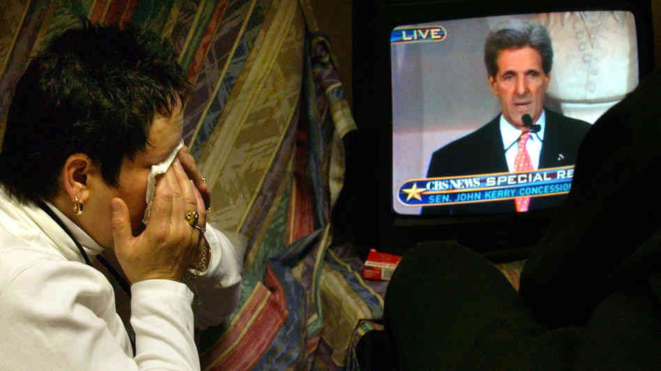 Beth Beene cries as Sen. John Kerry, D-Mass., gives his concession speech after losing the 2004 presidential election.