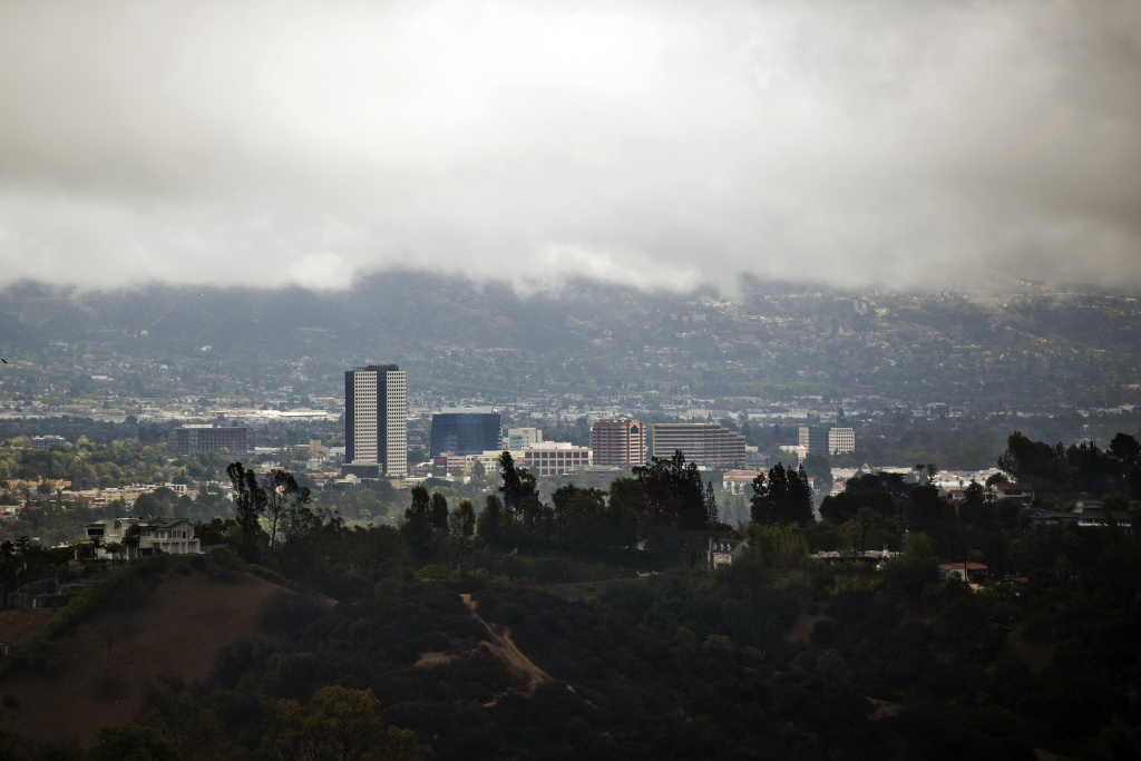 The San Fernando Valley sits under cloud cover on Friday, Feb. 28 during a rainstorm in Southern California.