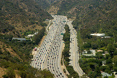 FILE PHOTO: Cars snake through the Sepulveda Pass near the Getty Center on I-405. A Sepulveda Pass subway is one of the projects that is planned using tax revenues from Measure M approved by voters last year.