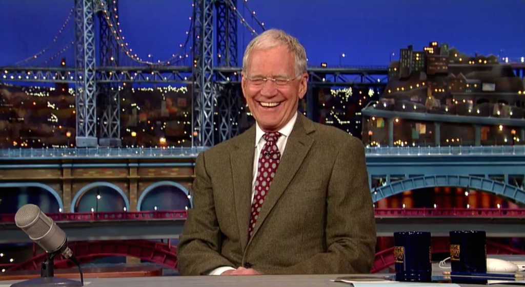 David Letterman announces his retirement during the taping of his