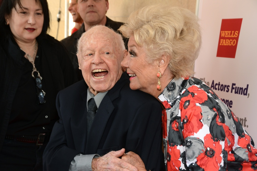Mickey Rooney and Mitzi Gaynor arrive at The Actors Fund 17th Annual Tony Awards Viewing Party held at Taglyan Cultural Complex on June 9, 2013 in Hollywood, California.
