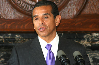 Los Angeles Mayor Antonio Villaraigosa formally announces today that for the first time in the city a union of civilian city employees has agreed to share in the cost of their health care. He speaks at a press conference on Tuesday, Aug. 24, 2010.