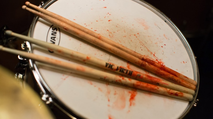 Bloody drumsticks from the set of Damien Chazelle's