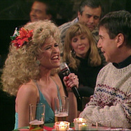 "Jan Hooks on ""Saturday Night Live"" as one of the Sweeney Sisters, with Paul Simon."
