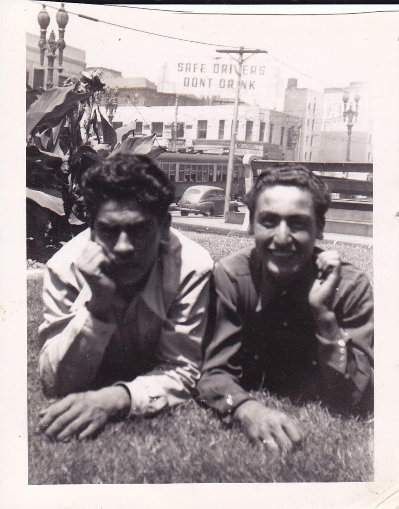 Ray and a relative near the LA Civic Center, 1947