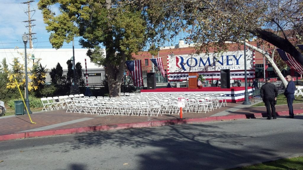 Patt Morrison stumbled upon a fake Romney rally set up on her way to KPCC on Feb. 20, 2013.