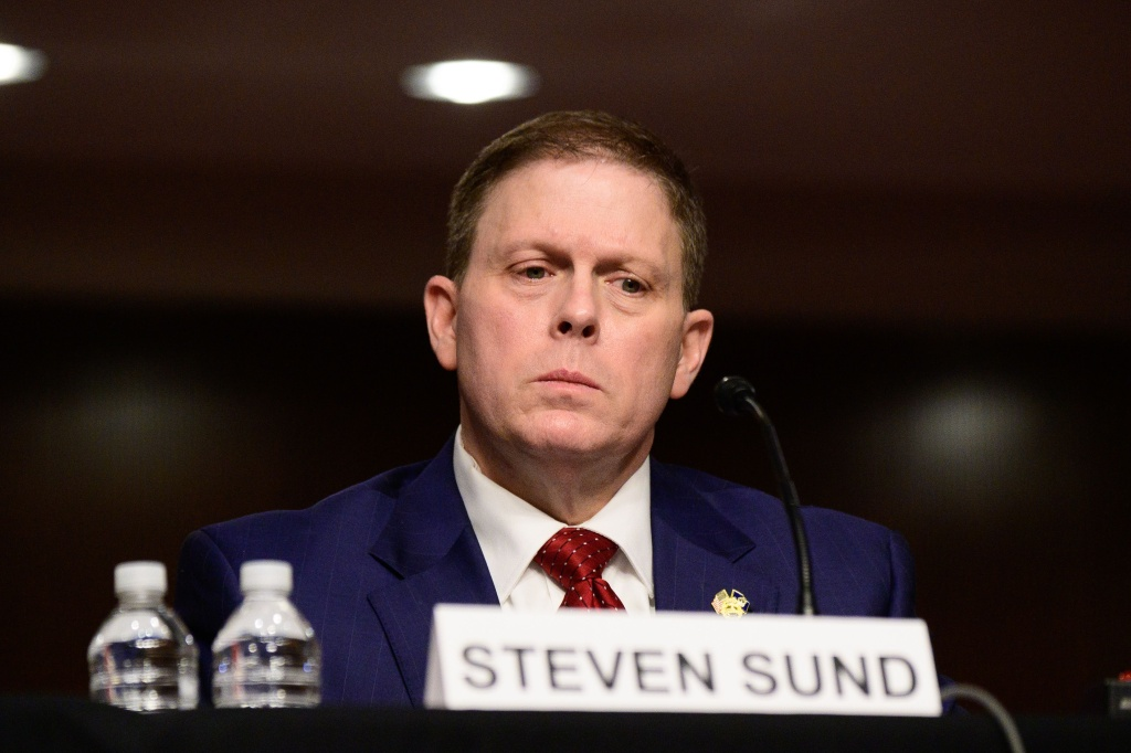 Former US Capitol Police Chief Steven Sund testifies in a Senate Homeland Security and Governmental Affairs and Senate Rules and Administration committees joint hearing on Capitol Hill, Washington, DC, February 23, 2021.