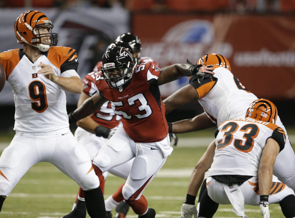 In this Thursday, Aug. 8, 2013, photo, Atlanta Falcons linebacker Brian Banks (53) closes in on Cincinnati Bengals quarterback John Skelton during an NFL preseason football game in Atlanta. Banks described his preseason debut with the Falcons as