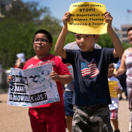 Young children join immigration reform protesters while marching in front of the White House on July 7, 2014 in Washington, D.C. It's still not clear just what sort of executive action President Obama will announce on immigration as early as this week, but the most controversial aspect stands to be protection from deportation for a larger group of immigrants.