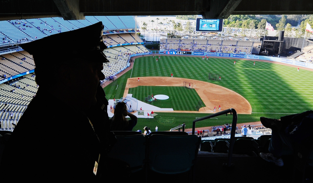 File: Los Angeles Police Department officers patrol inside Dodger Stadium prior to the start of the baseball game between the St. Louis Cardinals and Los Angeles Dodgers on April 14, 2011 in Los Angeles in response to the opening day attack on San Francisco Giants fan Bryan Stow two weeks prior.