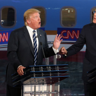 SIMI VALLEY, CA - SEPTEMBER 16:  Republican presidential candidates Donald Trump (L) and Jeb Bush argue during the presidential debates at the Reagan Library on September 16, 2015 in Simi Valley, California. Fifteen Republican presidential candidates are participating in the second set of Republican presidential debates.  (Photo by Justin Sullivan/Getty Images)