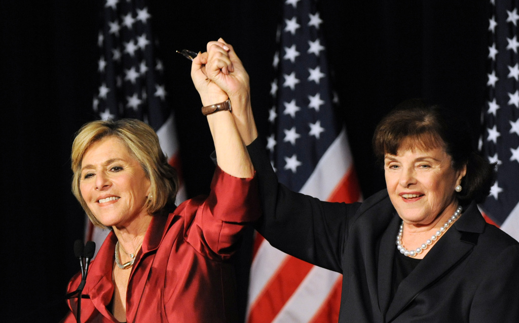 Senator Barbara Boxer (L) celebrates with Senator Dianne Feinstein (R) after winning a fourth term, in the Democratic Party headquarters at the Renaissance Hotel in Hollywood on November 2, 2010.