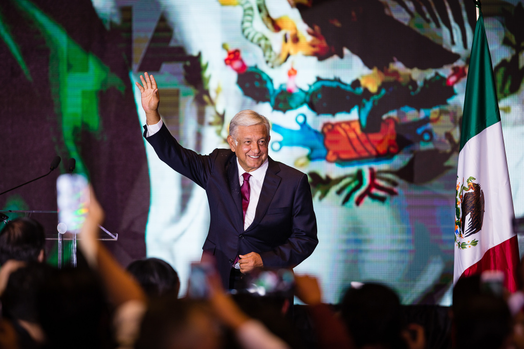 Andres Manuel Lopez Obrador, salutes attendants after his virtual victory in the elections for the Presidency of Mexico in the Media Center at the Hilton Hotel on July 1, 2018 in Mexico City, Mexico.