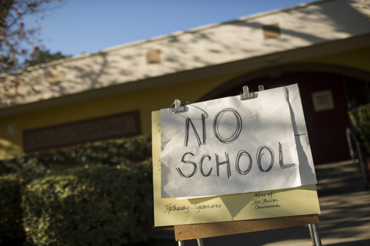 San Pascual Avenue Elementary School in Highland Park and all LAUSD schools are closed following Tuesday's threat of violence on Dec. 15, 2015.
