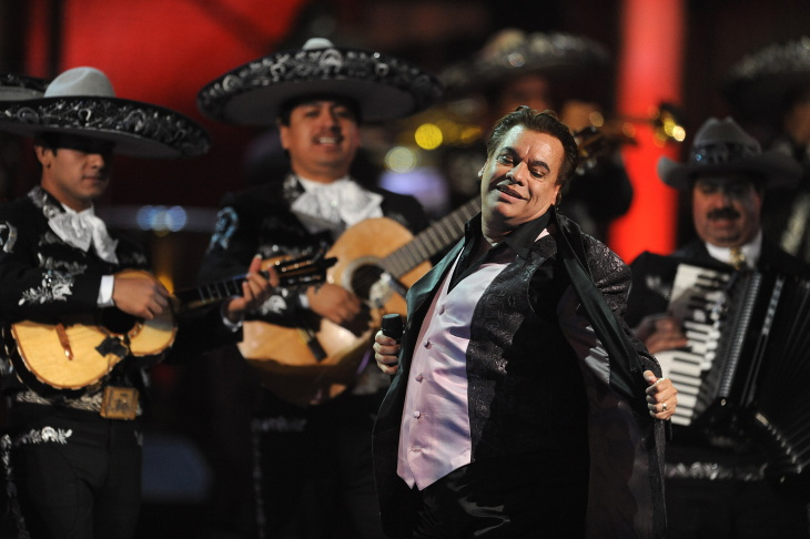 Singer Juan Gabriel performs during the Latin Grammy Awards show at the Mandalay Hotel in Las Vegas, Nevada on November 5, 2009.