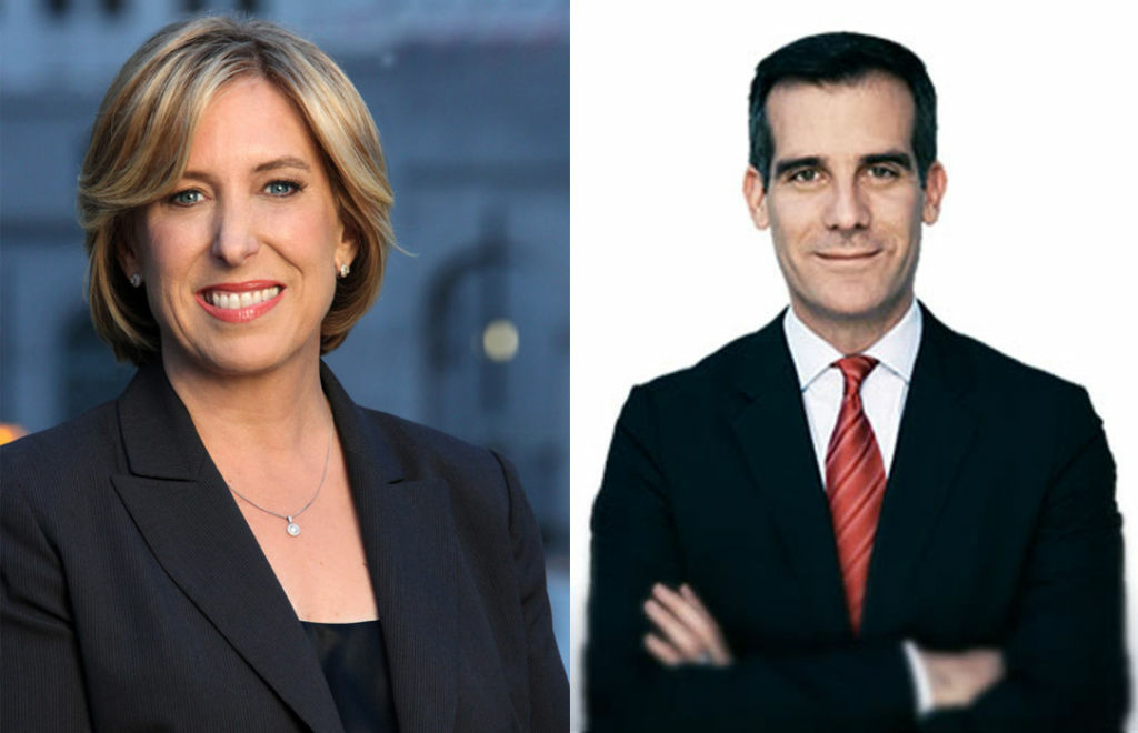 Los Angeles mayoral candidates, Controller Wendy Greuel (left) and City Councilman Eric Garcetti (right) met Thursday in their first debate.
