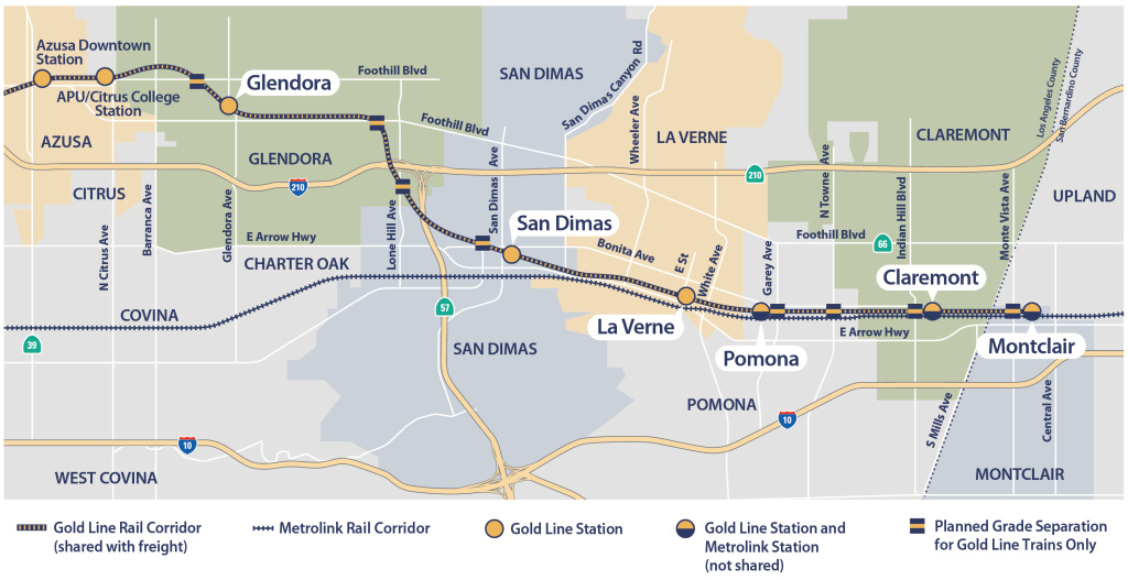 A map of the Gold Line extension from Azusa to Montclair.