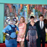 "(L-R) Singer Shakira and actors Ginnifer Goodwin and Jason Bateman pose with Nick Wilde and Judy Hopps characters during the Los Angeles premiere of Walt Disney Animation Studios' ""Zootopia."""