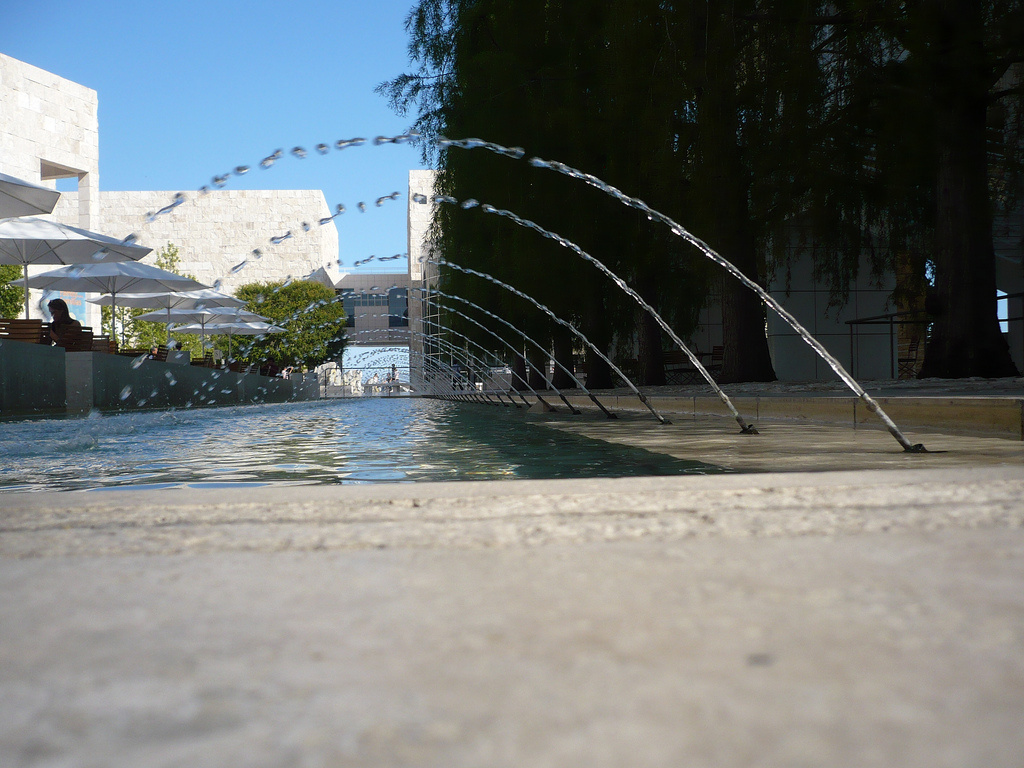 A view of fountains at the Getty Center. Water features such as these have been drained in response to the prologued drought in California.