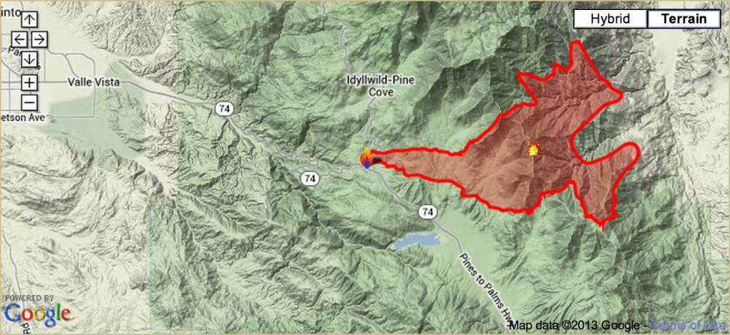 A map updated by fire officials Wednesday shows the extent of the land burned in the Mountain Fire near Idyllwild, Calif.