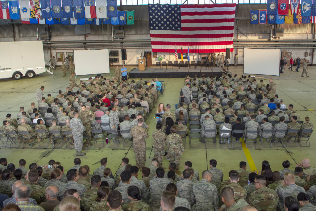 Members of the 52nd Fighter Wing gather for an all call in Hangar 1 at Spangdahlem Air Base, Germany, August 30, 2019. The all call was the start of the 52nd FW's tactical pause resiliency day as prescribed by U.S. Air Force Chief of Staff Gen. David Goldfein. (U.S. Air Force photo by Airman 1st Class Kyle Cope)