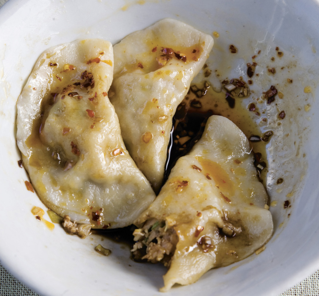 Pork and napa cabbage dumplings.