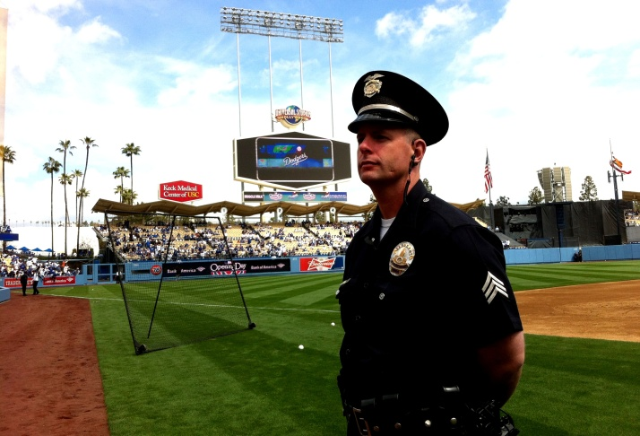 LAPD Sgt Jeff Nuttall says he loves being assigned to work Opening Day at Dodger Stadium; it's his 9th.
