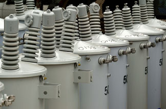 File photo: New electrical transformers are seen at a Pacific Gas & Electric storage facility May 29, 2003 in San Francisco, California.