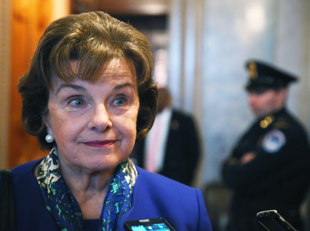 File: Sen. Dianne Feinstein (D-CA) speaks to reporters after finishing a speech on the Senate floor, on March 11, 2014 in Washington, D.C.