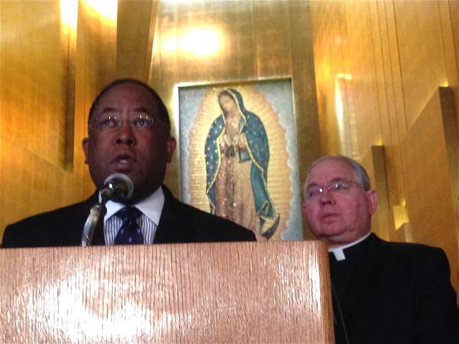 Faith, labor and civic leaders join in group prayer at the Cathedral of Our Lady of the Angels. (From l. to r.) Bishop Ki Hyung Han of Korean Methodist Churches USA; Hyepin Im, President of Korean Churches for Community Development; Marielena Hincapie  of the National Immigration Law Center; Former U.S. Secretary Hilda Solis; LA Chamber of Commerce Chairman Alan Rothenberg and Maria Elena Durazo of the Los Angeles County Federation of Labor, AFL-CIO.