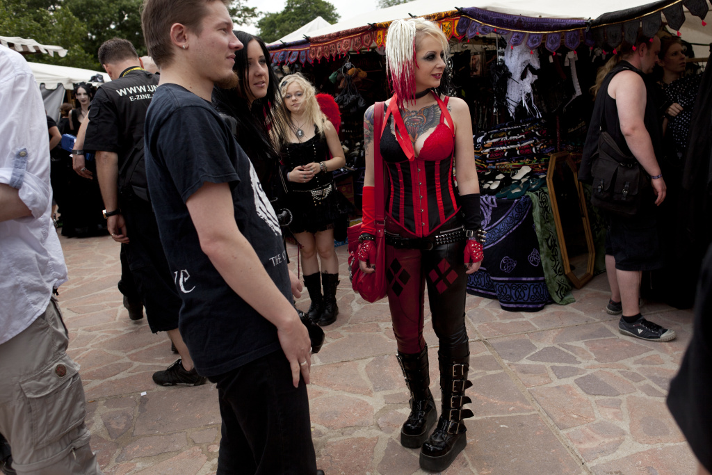 Gothic rock music enthusiasts walk the streets between venues during the annual Wave Gotik music festival on June 11, 2011 in Leipzig, Germany.