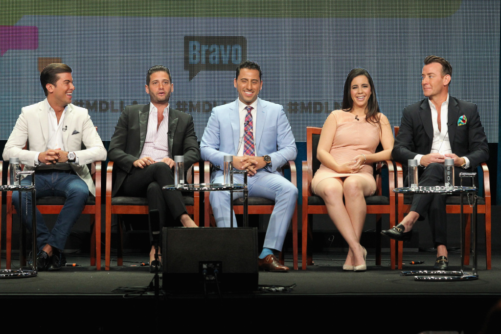 (L-R) TV personalities Luis D. Ortiz, Josh Flagg, Josh Altman, Samantha DeBianchi and Chris Leavitt speak onstage at the 'Million Dollar Listing' panel during the NBCUniversal Bravo portion of the 2014 Summer Television Critics Association at The Beverly Hilton Hotel on July 14, 2014 in Beverly Hills, California