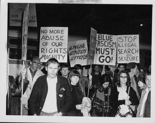 Hundreds of people took to the streets in February 1967. They were angry at the LAPD action against LGBT people at places like the Black Cat Tavern in Silver Lake.