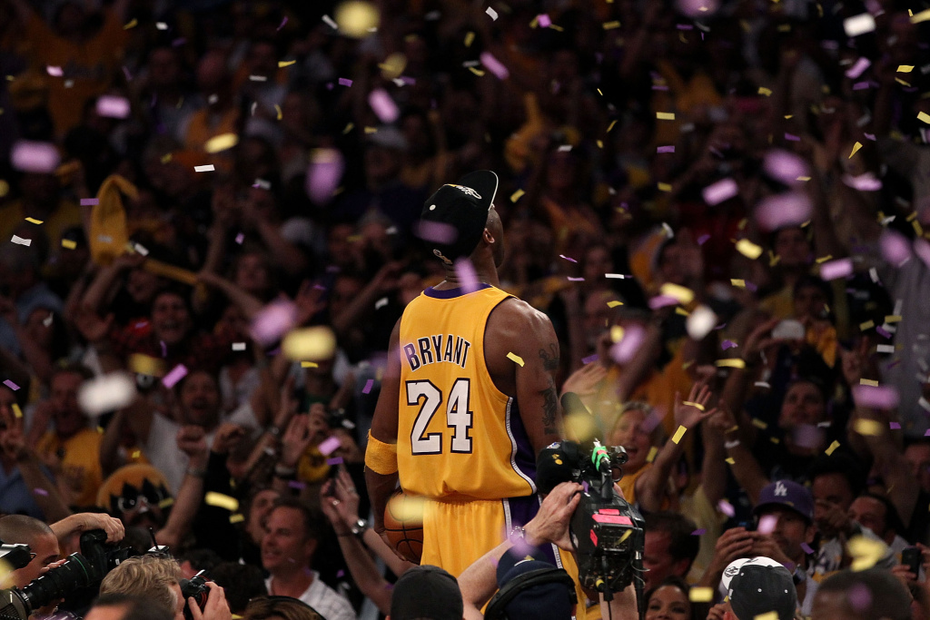 LOS ANGELES, CA - JUNE 17:  Kobe Bryant #24 of the Los Angeles Lakers celebrates after the Lakers defeated the Boston Celtics in Game Seven of the 2010 NBA Finals at Staples Center on June 17, 2010 in Los Angeles, California.  NOTE TO USER: User expressly acknowledges and agrees that, by downloading and/or using this Photograph, user is consenting to the terms and conditions of the Getty Images License Agreement.  (Photo by Christian Petersen/Getty Images) *** Local Caption *** Kobe Bryant
