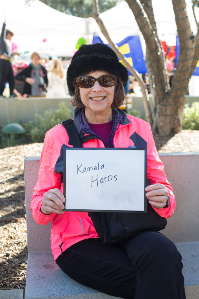 Emilie Robertson, 74, of Westchester. I picked Kamala Harris, because she stays passionately angry enough to keep us motivated and she not only provides actual solutions, but she also shares her funding with others.  January 20, 2018 at Downtown Los Angeles, California. (James Bernal for KPCC)