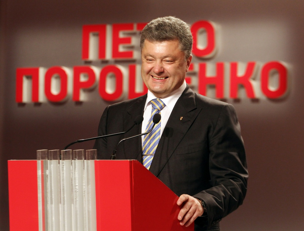 Presidential candidate Petro Poroshenko gives a press conference in Kiev after exit polls were announced on May 25, 2014.