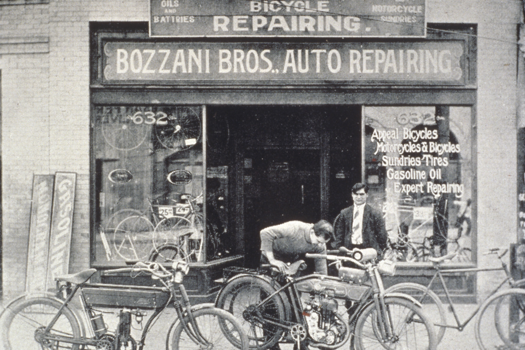 The Bozzani brothers' bicycle store, located adjacent to the Italian Hall in the heart of L.A.'s Little Italy. With the advent of the automobile, the Bozzani brothers became one of the earliest auto and motorcycle dealerships in the region.