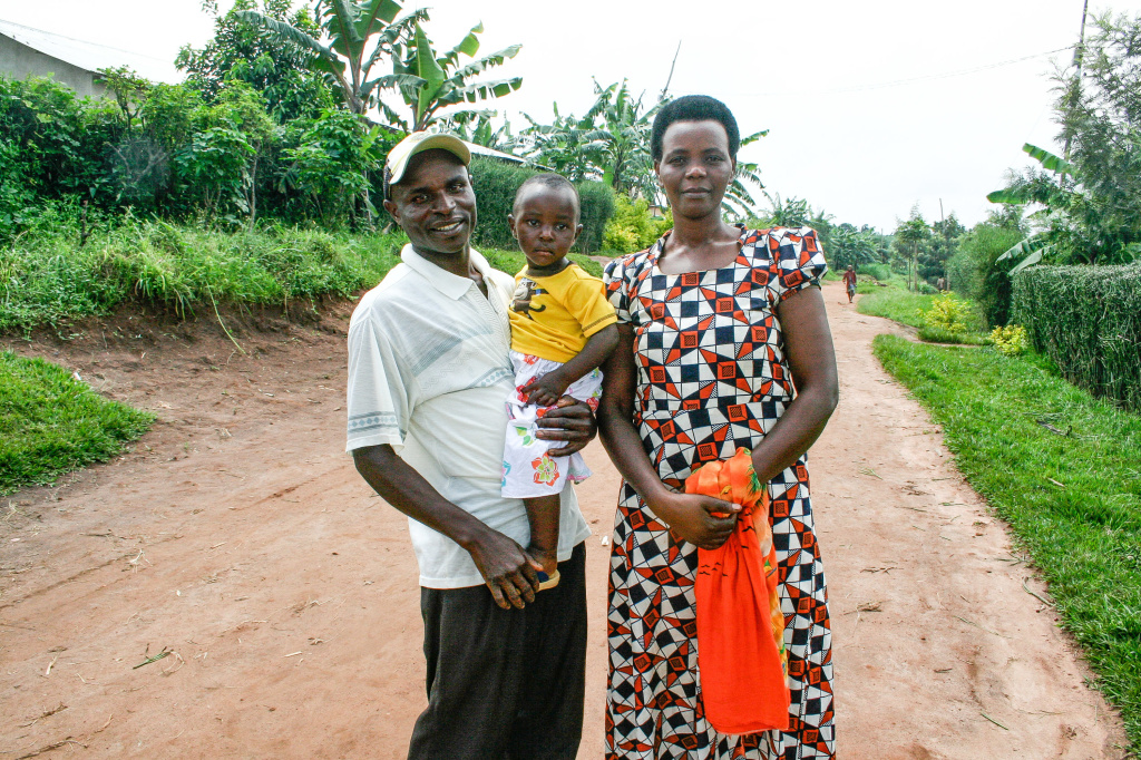 Jean Marie Rukundo and his wife, Theodosie Uwambajimana, with their 2-year-old daughter. They've nicknamed her