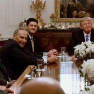 President Trump hosts Democratic and Republican congressional leaders in the State Dining Room of the White House on Monday.