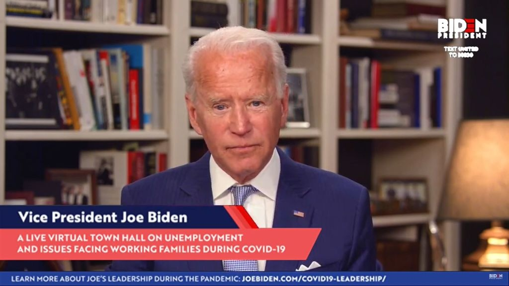 In this screengrab from Joebiden.com , Democratic presidential candidate and former U.S. Vice President Joe Biden speaks during a Coronavirus Virtual Town Hall from his home on April 08, 2020 in Wilmington, Delaware.