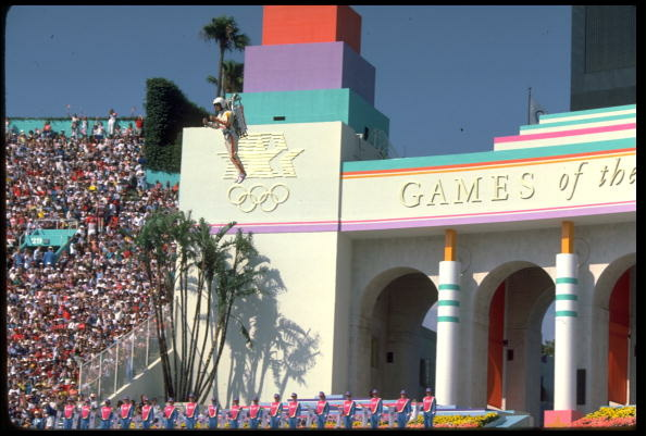 Local sports fans wear patriotic Olympic Rings sunglasses during the 1984 Olympic Games in Los Angeles, California.