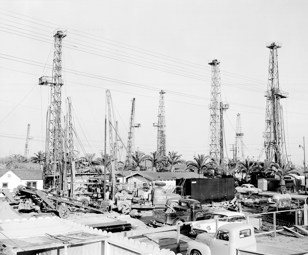 Huntington Beach has long been a hub for oil drilling, as seen in this photo from 1954.